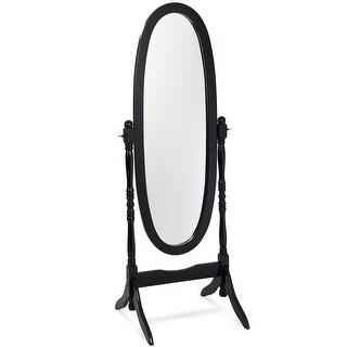 Costway Swivel Full Length Ovel Mirror Wooden Cheval Floor Free Standing Dressing Black
