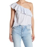 Melrose and Market Womens Large Striped One-Shoulder Blouse