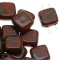 CzechMates Glass 2-Hole Square Tile Beads 6mm 'Umber Picasso' (1 Strand) - Thumbnail 0
