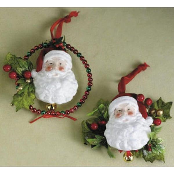Elegant Santa Claus & Holly Sprig Glitter Christmas Ornament #926031