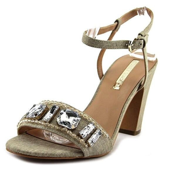 Audrey Brooke Janice Women Open-Toe Canvas Gold Heels