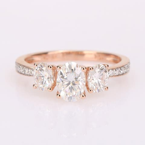 Miadora 1 4/5ct DEW Moissanite 3-Stone Engagement Ring in 10k Rose Gold
