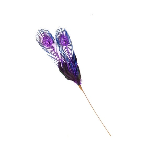 "26"" Regal Peacock Blue and Purple Feather, Glitter and Faux Jewel Christmas Floral Pick"
