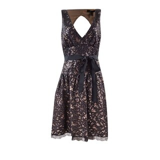 BCBGMAXAZRIA Women's 'Katarina' Belted Sequined Lace Dress - Black - 10
