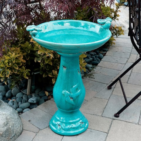 Alpine 24-Inch Ceramic Antique Pedestal Birdbath and Bird Figurines, Turquoise