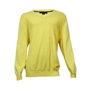 Club Room Men's Diamond-Knit Pattern V-Neck Sweater (Magnolia, LT) - YELLOW - lt