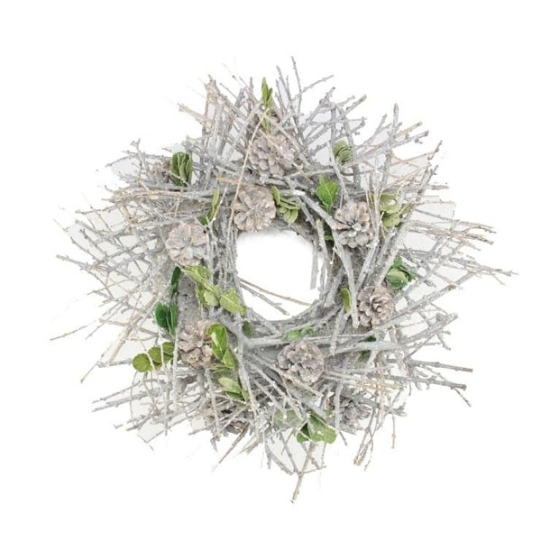 "20"" Glittered Twig, Pine Cone and Leaf Artificial Christmas Wreath - Unlit"