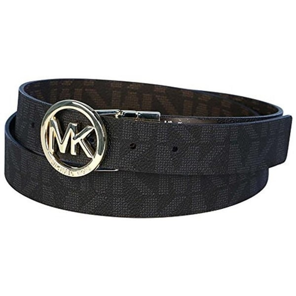Michael Kors MK Logo Signature Monogram Twist Reversibe Belt, Black To Brown 551342C