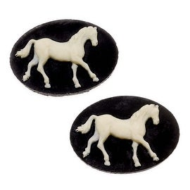 Vintage Style Lucite Oval Cameo Black With Ivory Horse 25 x 18mm (2)