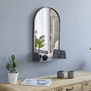 Link to Modern Round Arc Iron Hanging Wall Mirror With Shelf 24 Inch Height Dark Bronze Similar Items in Mirrors