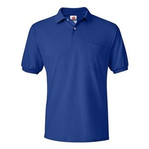 Hanes Ecosmart Jersey Sport Shirt with a Pocket - Deep Royal - S