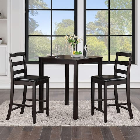 3 Piece Rubberwood Counter Height Table Dining Set with Cushioned Chairs