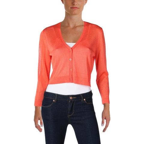 Lauren Ralph Lauren Womens Cardigan Sweater Knit Crop