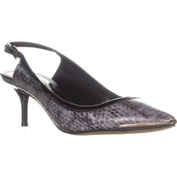 b57d647e94 Enzo Angiolini Garrac Slingback Kitten Heels, Black/Black Leather - 7 US