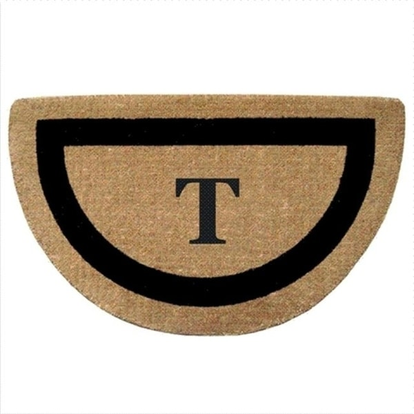Nedia Home 02053T Single Picture - Black Frame 22 x 36 In. Half Round Heavy Duty Coir Doormat - Monogrammed T