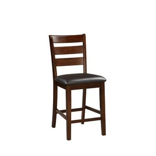 Wooden Counter Height Armless Chair, Walnut brown, Set of 2