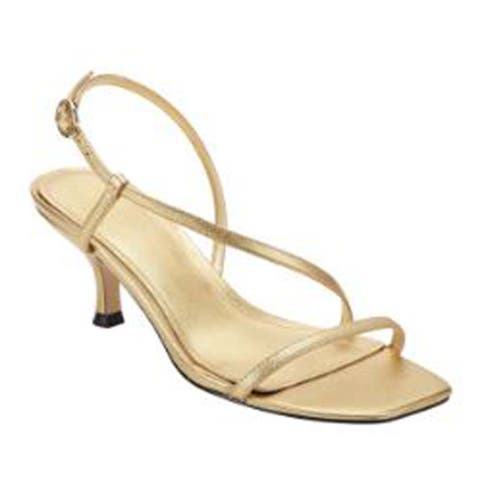 Marc Fisher Women's Gove Strappy Heeled Sandals, Gold Leather, 7