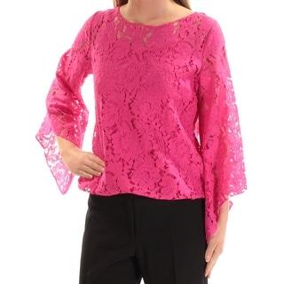 ALFANI Womens Pink Bell Sleeve Jewel Neck Top  Size XS
