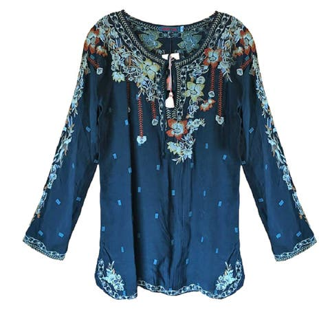 Johnny was Womens Gemma Teal Embroidered Blouse Tunic