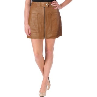 Helmut Lang Womens Mini Skirt Leather Lambskin Leather