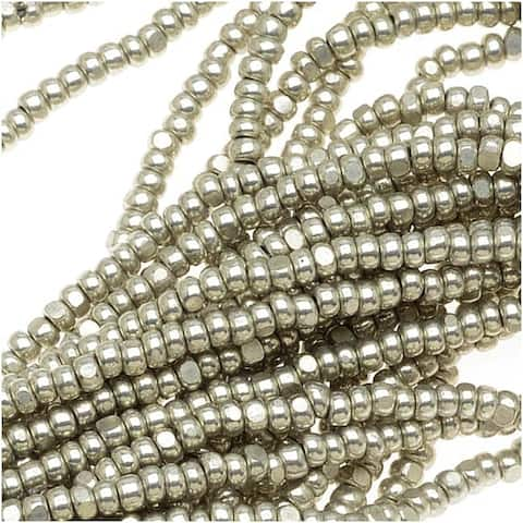 Czech Single Cut Charlotte Seed Beads 13/0 Metallic Grey Terra 1/2 Hank