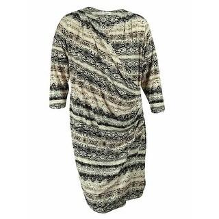 Calvin Klein Women's Animal Print Faux Wrap Dress