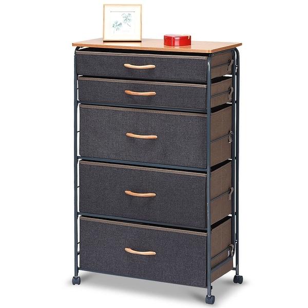 Costway 5-Drawer Fabric Storage Organizer Unit Metal Frame Dresser Cabinet Furni W/Wheel