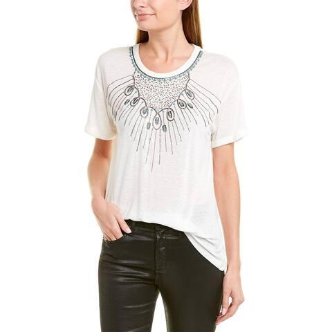 The Kooples Beaded Linen-Blend T-Shirt