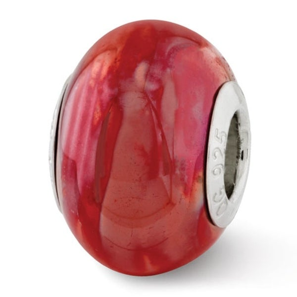 Italian Sterling Silver Reflections Orange/Pink Ceramic Bead (4mm Diameter Hole)