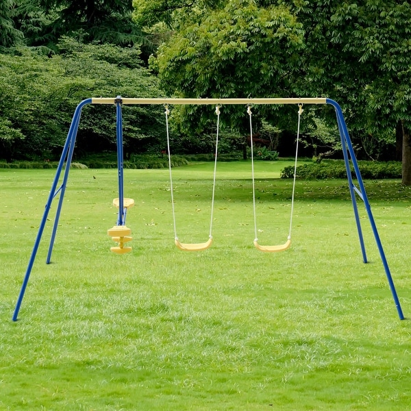 Shop Costway Metal A Frame Four Seat Swing Set Fun Play Chair Kids
