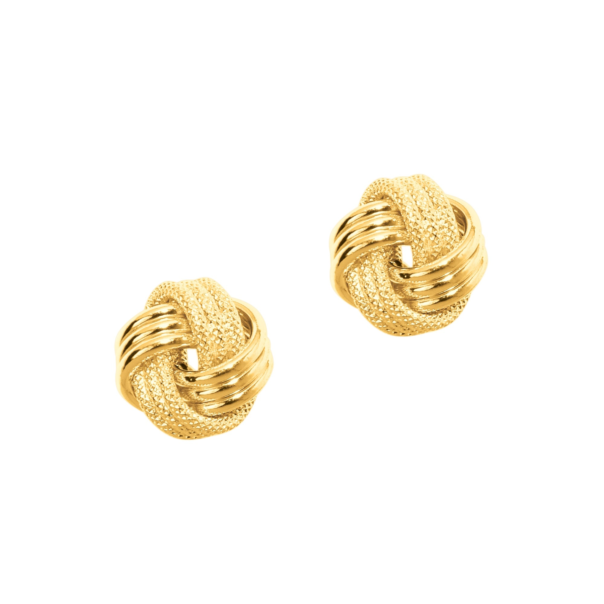 14k Yellow Gold Love Knot Earrings Designer Style High Polished Studs 9mm