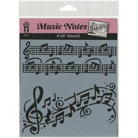 "Hot Off The Press Music Notes Stencils, 6"" by 6"""