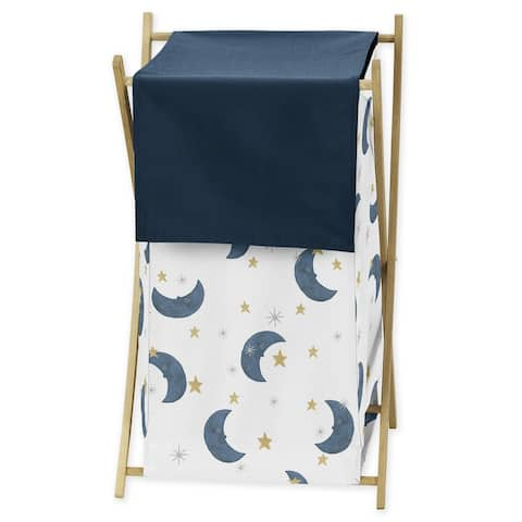Moon and Star Collection Laundry Hamper - Navy Blue and Gold Watercolor Celestial Sky
