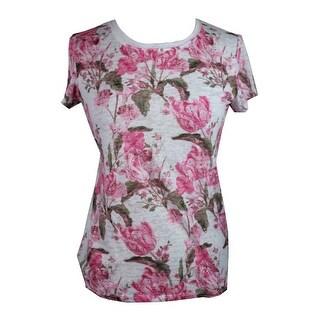 Inc International Concepts Pink Multi Cap-Sleeve Embellished T-Shirt S