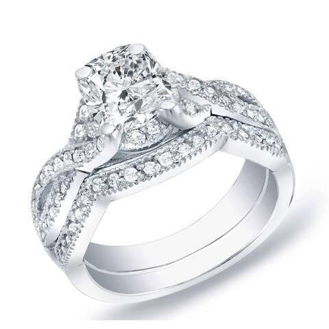 Auriya 14k Gold 1ctw Vintage Cushion-cut Diamond Engagement Ring Set
