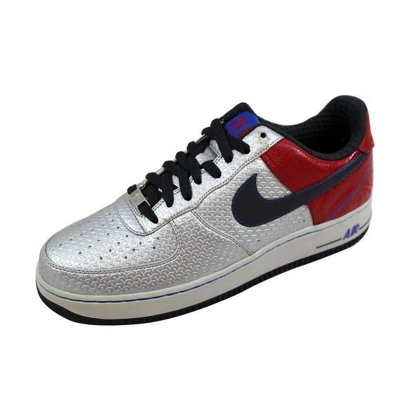 Nike Men's Air Force 1 Premium 07 Jones Metallic Silver/Anthracite-Varsity Red Original Six 315090-001