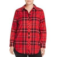 Foxcroft Women's Plus Plaid Print Button Up Shirt