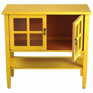 Vivian 2-Door Console Cabinet with Paned Glass Inserts & Shelf -