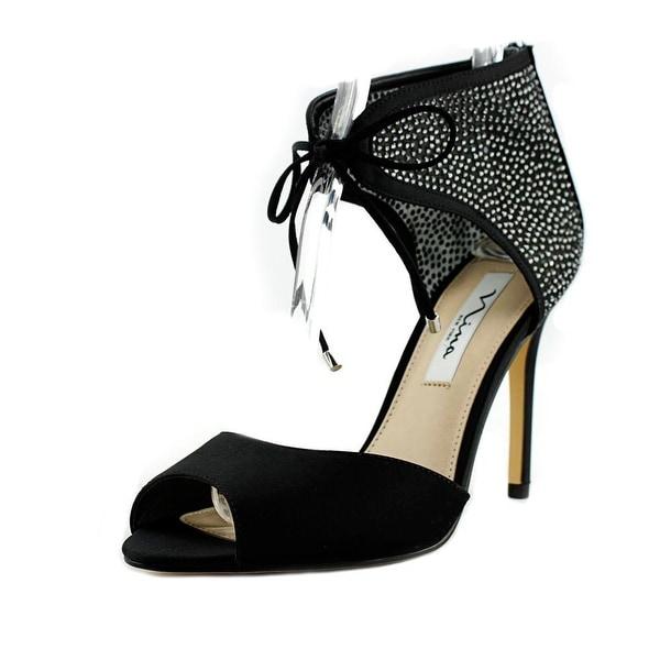 Nina Madge Women Open Toe Canvas Black Sandals