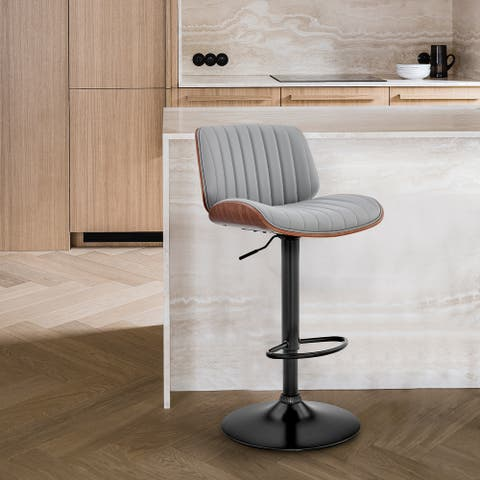 Brock Adjustable Faux Leather and Wood Bar Stool with Metal Base