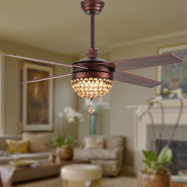 """48/"""" LED Ceiling Fan Light Crystal Chandelier Stainless steel Blades Remote US"""