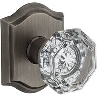 Baldwin PV.CRY.TAR Crystal Privacy Door Knob Set with Traditional Arch Trim from the Reserve Collection - N/A