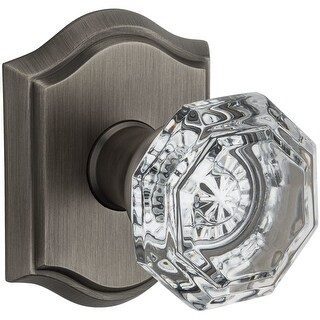 Baldwin PV.CRY.TAR Crystal Privacy Door Knob Set with Traditional Arch Trim from the Reserve Collect