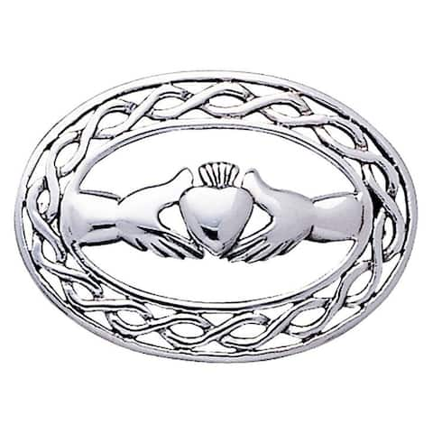 Sterling Silver Irish Claddagh with Celtic Knot Work Brooch Pin