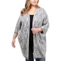 Lucky Brand Womens Plus Duster Sweater Metallic Draped - 3X
