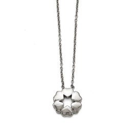 Chisel Stainless Steel Polished Flower Necklace - 18.5 in