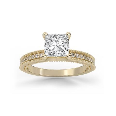 Vintage Milgrain Diamond Moissanite Princess & Round Cut Engagement Ring