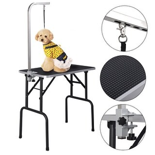 Costway 32'' Adjustable Pet Dog Cat Grooming Table Top Foam W/arm&noose Rubber Mat