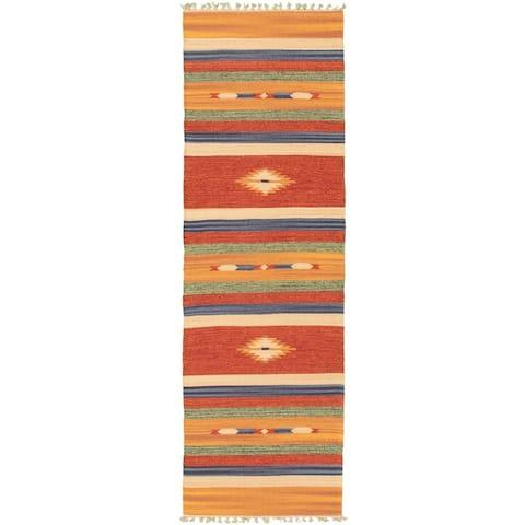 ECARPETGALLERY Flat-weave Bold and Colorful Orange, Red Wool Kilim - 2'0 x 6'8