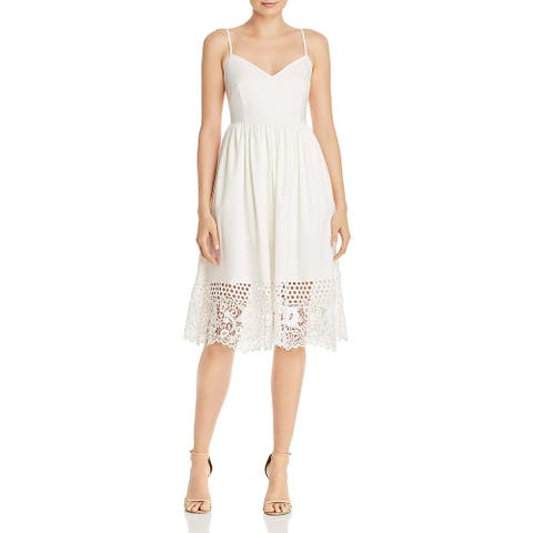 French Connection Womens Salerno Casual Dress Eyelet V-Neck - Summer White